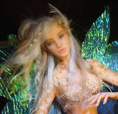 Ooak flying fairy faery art doll polymer clay miniature handmade 50cm with base