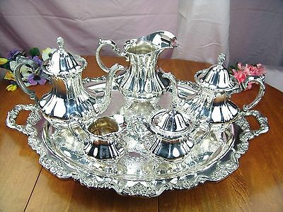 POOLE LANCASTER ROSE SILVER COFFEE TEA SET FOOTED BUTLER TRAY 400 PITCHER 401 6p