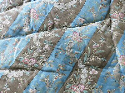 SUPERB ANTIQUE FRENCH HANDSTITCHED QUILT BOUTIS PROVENCAL 1890's BLUE CHOCOLATE