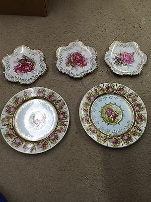 Lot Of 5 Antique Old Japan Fine China Pin Dish Plate Hand Painted Gold Trim