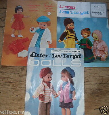 Original Vintage 1970's Dolls & Baby Doll Knitting Pattern Booklets