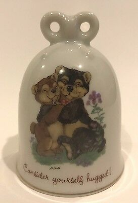 "Cloverleaf Lane Porcelain Bell WWA Japan 4"" Bears Consider Yourself Hugged"