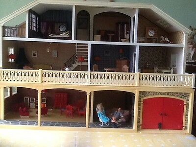 vintage furnished lundby dolls house with stable and garage extention