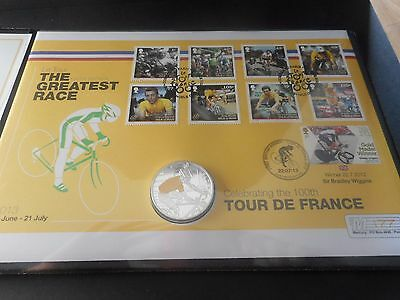 Silver Coin Cover The  Tour De France  Sir Bradley Wiggins Limited Edition 250