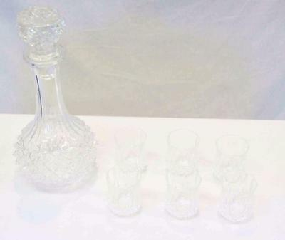 25cm Crystal Decanter with 6 shot glasses #11281