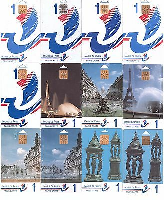 France - 17 Paris Cards for Parking - All different - Used