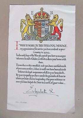 Personal Message of Thanks From Queen Elizabeth (The Queen Mother) WW2 1939