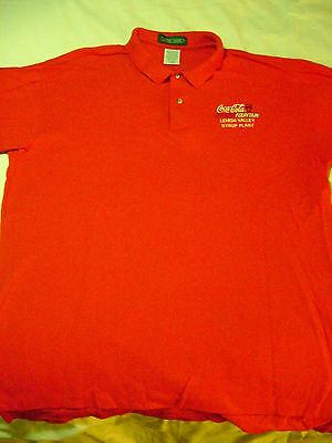 Red Coca Cola Fountain Lehigh Valley Syrup Plant Employee's Polo Shirt XL