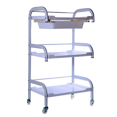 3 Tier Beauty Hairdresser Coloring Hair Salon Trolley Rolling Storage Cart Tool