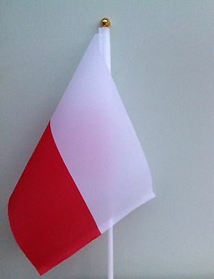 "6 POLAND SMALL HAND WAVING FLAG 8"" By 5"" WITH 12"" POLE POLISH"