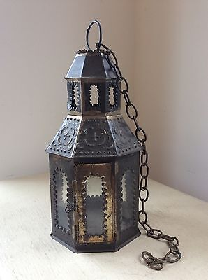 Original ANTIQUE Punched TIN Metal Candle LANTERN Lamp, Pendant Light, Shade