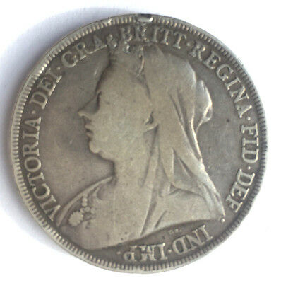 1894 - Queen Victoria - Solid Silver - One Crown / Five Shillings - Uk Coin