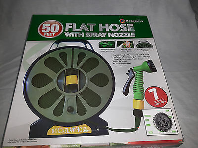 50ft (15m) Flat Hose with Spray Nozzle and Seven Fittings