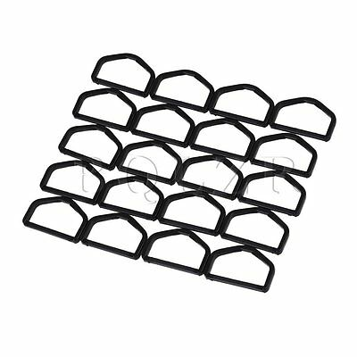 20pcs 5cm Black Square D Ring Buckle Plastic Bags for Straps Strong Durable