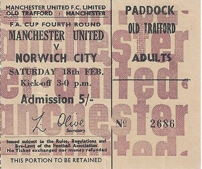 MANCHESTER UNITED v NORWICH CITY - 1966/7 - FA Cup - ticket stub