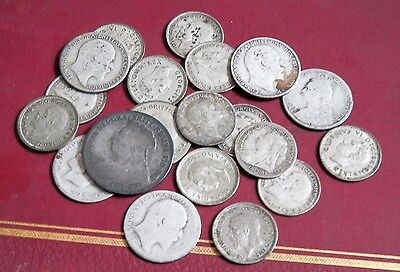 Lot Of 20 Silver British Old Coins , Detector Find , Uncleaned