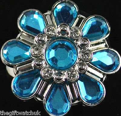 Henley Ladies Flower Finger Aqua Blue Ring Watch, One Size, New & Gift Boxed
