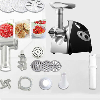 2800W Black Stainless Steel Electric Meat Grinder Sausage Maker 4Plates UK PLUG