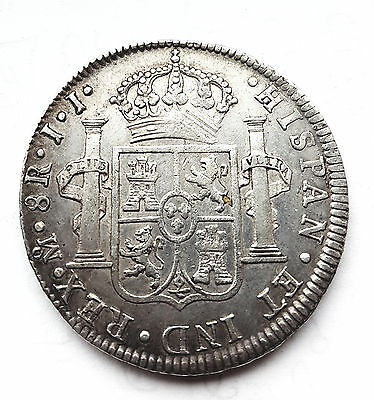 1812 Mo Jj Mexico Silver 8 Reales Coin