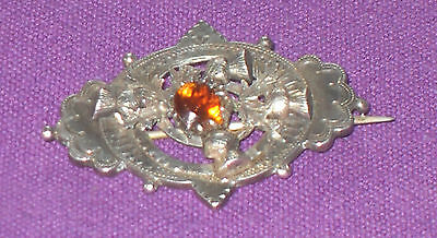 Victorian 1890 Scottish Sterling Silver Citrine Stone Thistle  Brooch Antique