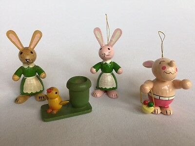 Lot (4) hand panted vintage wooden ornaments 2 Dakin rabbits with original label