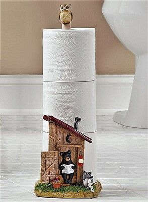 Country Outhouse Toilet Paper Holder Bathroom Humor Woodland Bear Nature Call