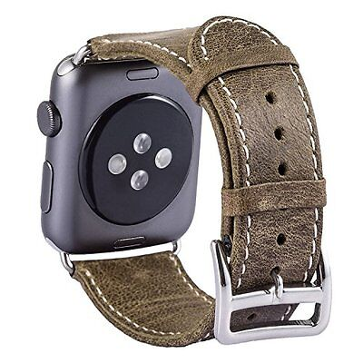 Apple Watch iwatch Band 42mm Vintage Genuine Leather Replacement Strap, Gray