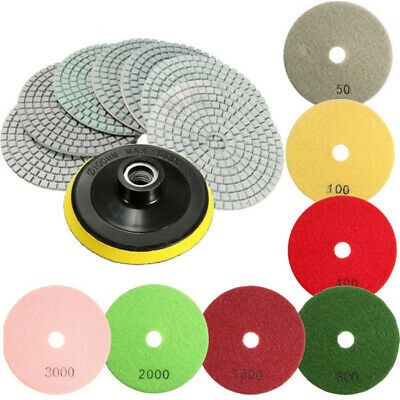 [NEW] 8pcs  4 Inch 50 to 3000 Grit Diamond Polishing Pads for Granite Stone Conc