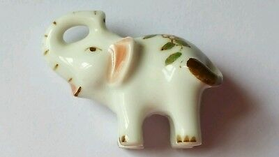 Handcrafted in Thailand Elephant Figurine Miniature Porcelain Trunk Up Vintage