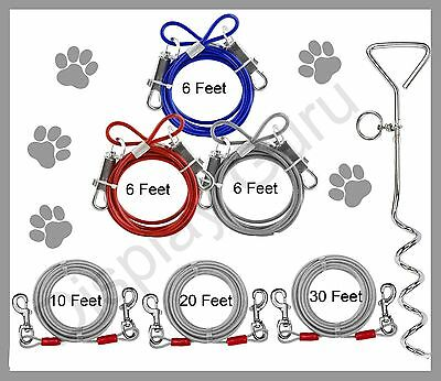 Dog Pet Puppy Metal Steel Spiral Stake Pole Tie Out Collar Cable Lead Leash  Wir