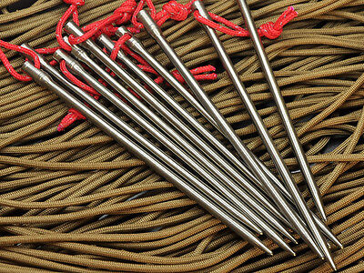 1-20pcs Titanium alloy Tent Pegs Nail Stakes Rope Outdoor Camping Survival Kits