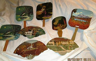 LOT OF EIGHT (8) VINTAGE 1900s ADVERTISING HAND FANS