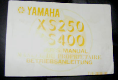 Yamaha Xs250 & Xs400 Owner's Manual (In Good Condition)