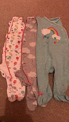 6 Baby Girl NEXT Sleepsuits 0-3 months