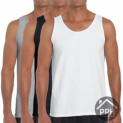 3 Pack Mens Gildan Soft Vests Summer Tank Top Gym Athletic Style All Colours Top