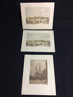 """(3) VTG Christmas Cards """"The Banks Family"""" Wien/Vienna Etchings"""
