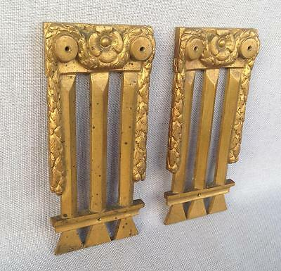 2 Antique furniture ornaments made of ormolu France 19th century numbered