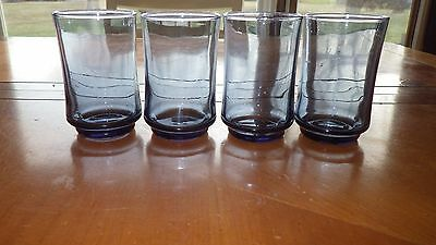 Libbey Blue Juice Glasses flat bottom 4 6.5 ounce traditional glasses