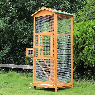 Lg Outdoor Bird Cage Wood Tall Roof Ladder 2 Doors Parakeet Finch Indoor Habitat