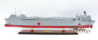 USNS Comfort T-AH 20 Hospital Ship - Handmade Display  Wooden Ship Model NEW