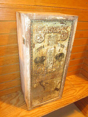 Rare Vintage Antique Sauers Spice Flavoring Extracts Box With Tin Front Adv