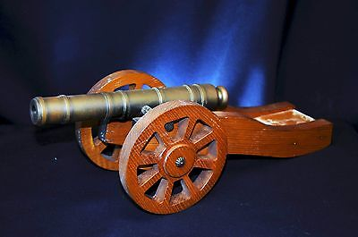 Vintage / Antique Brass and Wood Cannon 9.5 inch Barrel