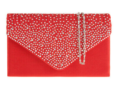 BNWT Diamante Satin Evening Clutch Handbag Party Prom Wedding Bag Purse H729