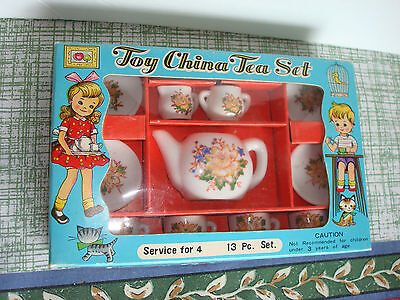 Vintage Sonsco Toy 13 piece China Tea Set Japan New in Box. NOS