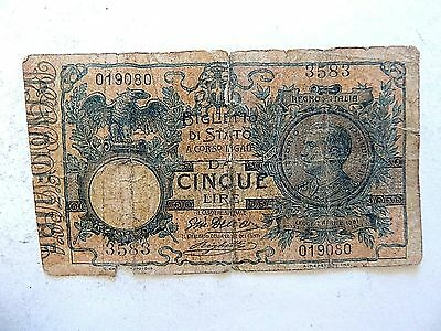 1904 Italy Five (5) Lire Note.