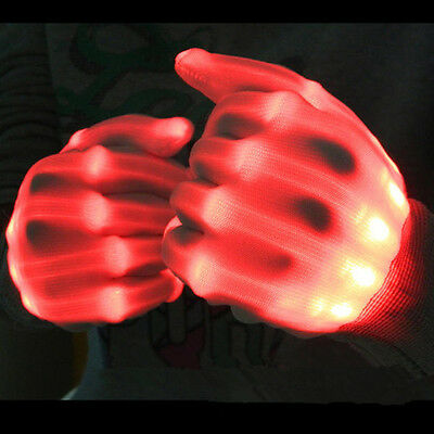 A Pair LED Lighting Gloves Flashing Fingers Rave Gloves for Show Party Dance