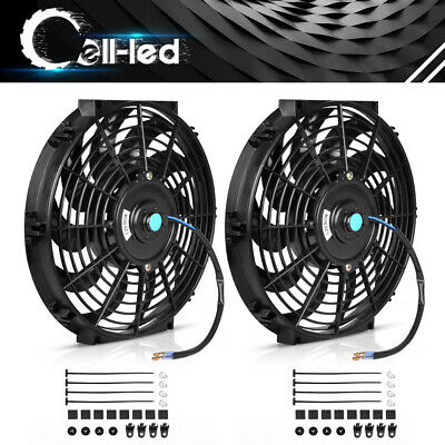 2x 12inch Slim Push Pull Electric Radiator Cooling Fan 12V Mount Kits Universal