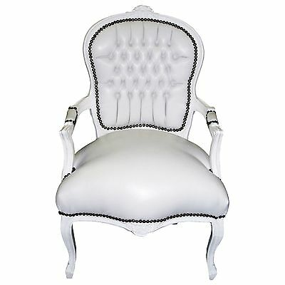 Arm chair, antique replica, accent, side-chair in white Faux-leather, solid wood