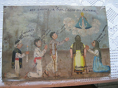 1940's Exvoto On Tin Five People  Thanking Our Lady For Favor S Received Framed