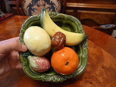 Vintage Spain / Majolica Plate with fruits/ Impressive Embossed Plate with fruit